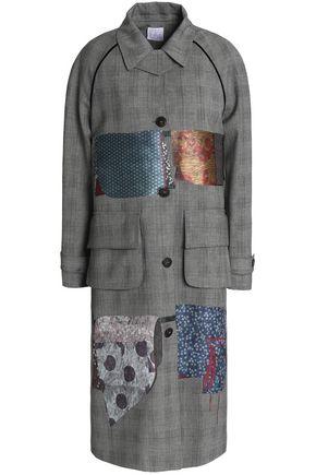 STELLA JEAN Printed satin-paneled checked cady coat