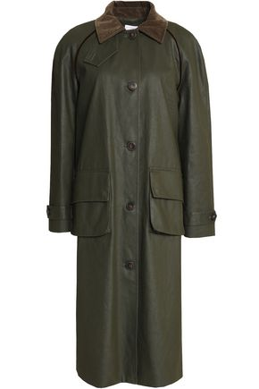 STELLA JEAN Corduroy-trimmed coated cotton-gabardine coat
