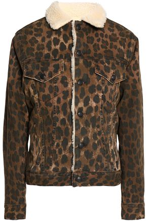 R13 Faux shearling-trimmed leopard-print denim jacket