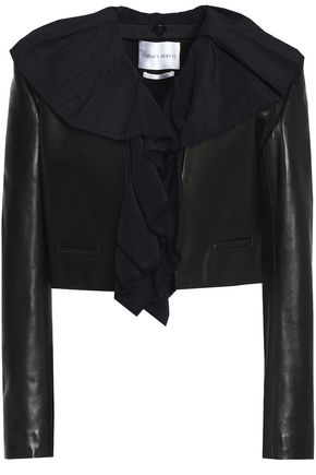 CARMEN MARCH Ruffled linen-trimmed leather jacket
