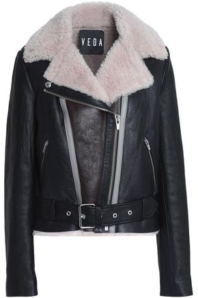 VEDA Noble shearling biker jacket