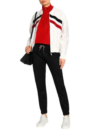 MONCLER Striped cotton and silk-blend bombr jacket