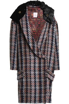 STELLA JEAN Double-breasted velvet-paneled jacquard hooded coat