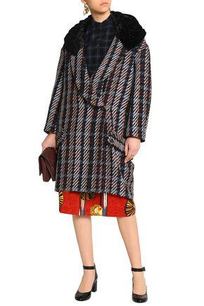 STELLA JEAN Double-breasted velvet-paneled jacquard hooded coat