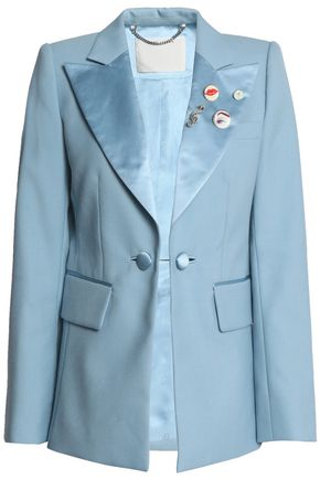 MARC JACOBS Appliquéd satin-paneled cady blazer