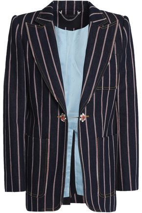 MARC JACOBS Crystal-embellished striped denim blazer