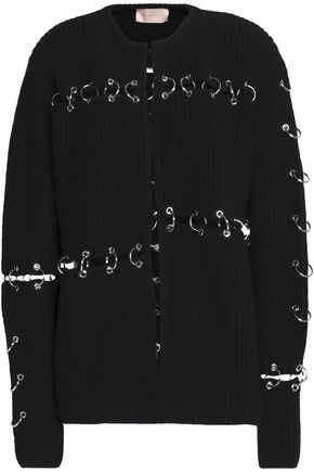 CHRISTOPHER KANE Ring-embellished cutout wool cardigan