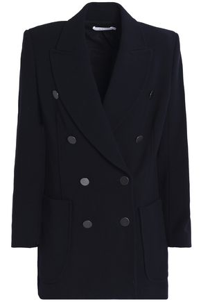 WOMAN DOUBLE-BREASTED WOVEN BLAZER NAVY