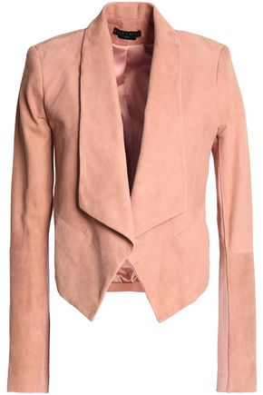 ALICE+OLIVIA Harvey stretch-knit paneled suede jacket