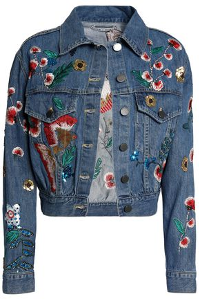 ALICE + OLIVIA Chloe embellished embroidered denim jacket