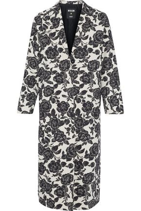 MSGM Floral-print cotton and linen-blend gabardine coat