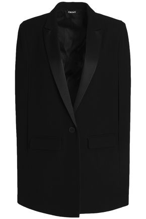 DKNY Cape-effect satin-trimmed wool vest