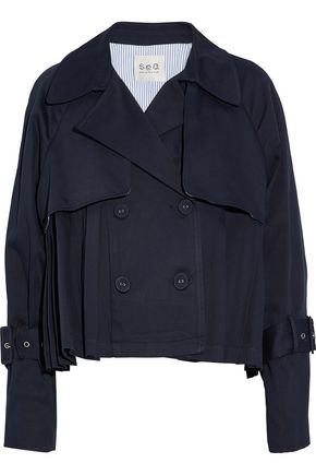 SEA Double-breasted cotton-twill jacket