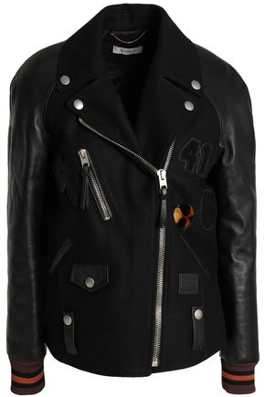 COACH Leather-paneled wool-blend biker jacket