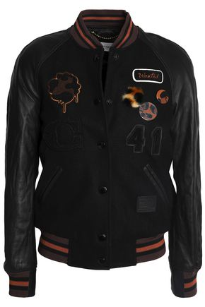 COACH Embellished leather-paneled wool-blend jacket