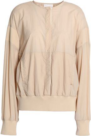DKNY Ribbed knit-trimmed shell jacket