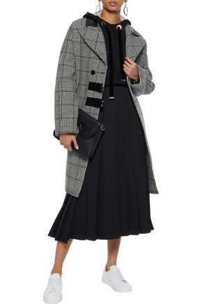 CARVEN Leather-trimmed checked wool-blend coat