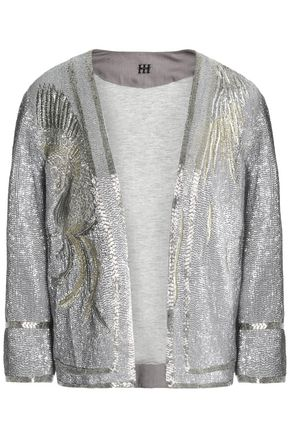 HAUTE HIPPIE Metallic beaded cotton jacket