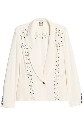 HAUTE HIPPIE Lace-up satin-crepe blazer
