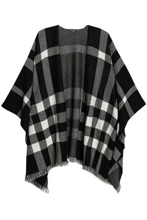 SPLENDID Fringe-trimmed checked jacquard-knit wrap