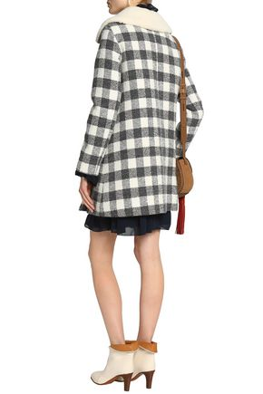 SEE BY CHLOÉ Faux shearling-trimmed checked brushed woven coat