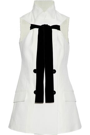 PROENZA SCHOULER Double-breasted velvet-trimmed cotton and silk-blend matelassé vest