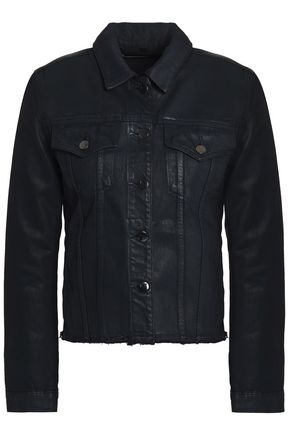 WOMAN COATED DENIM JACKET DARK DENIM