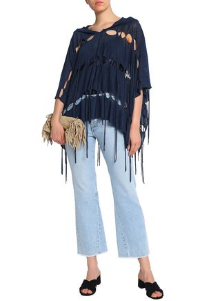 HAUTE HIPPIE Cutout fringed linen-blend hooded poncho