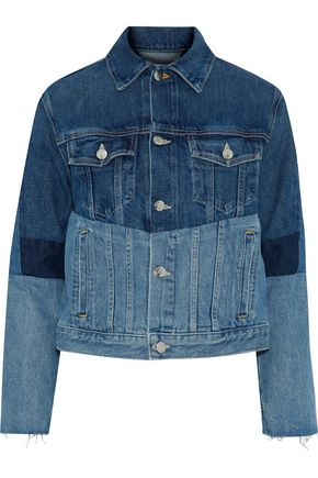HELMUT LANG Frayed patchwork denim jacket
