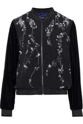 ELIE TAHARI Velvet-paneled embellished silk crepe de chine bomber jacket