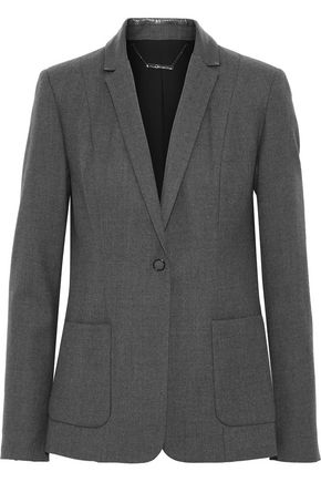 ELIE TAHARI Wendy snake-effect leather-trimmed wool-blend twill blazer