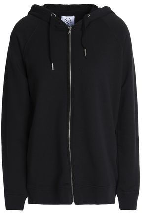 ZOE KARSSEN Cotton-blend terry hooded sweatshirt