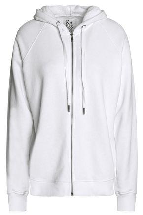 ZOE KARSSEN Mélange cotton-blend terry hooded sweatshirt