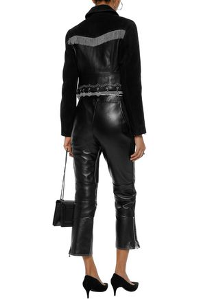 ALEXANDER WANG Embellished suede-paneled leather biker jacket