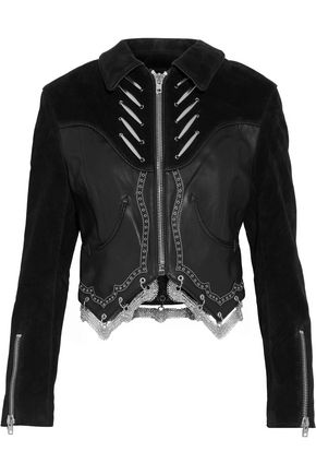 ALEXANDER WANG Embellished suede-paneled leather biker jacket