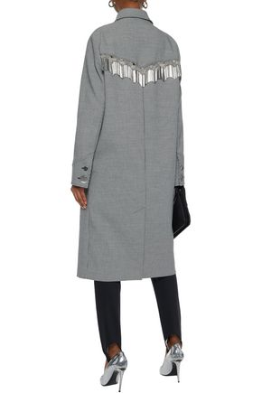 ALEXANDER WANG Metallic fringe-trimmed houndstooth woven coat