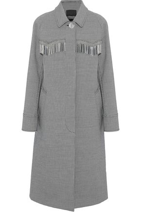 ALEXANDER WANG Metallic fringe-trimmed houndstooth woven coat
