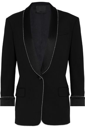 ALEXANDER WANG Embellished satin-paneled twill blazer