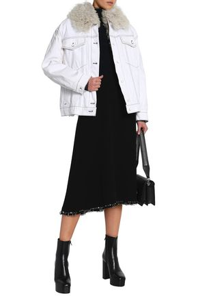 ALEXANDER WANG Faux shearling-trimmed denim jacket
