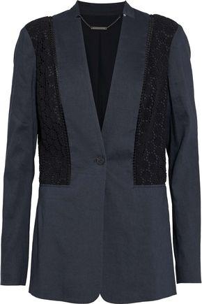 ELIE TAHARI Bonnie crochet-paneled linen-blend blazer