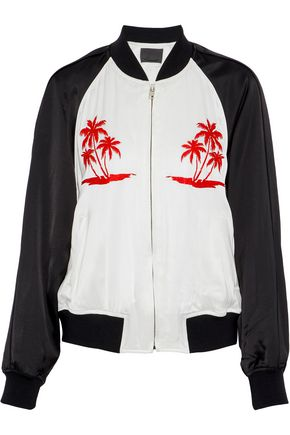 ALEXANDER WANG Embroidered two-tone satin bomber jacket