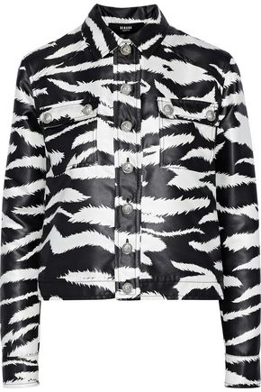 VERSUS VERSACE Coated zebra-print satin-twill jacket