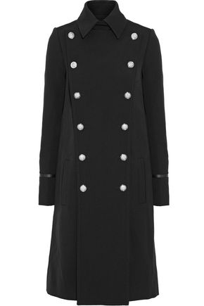 VERSUS VERSACE Double-breasted leather-trimmed wool-twill coat