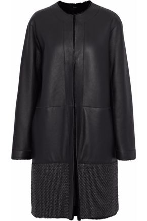 ELIE TAHARI Reversible ring-embellished shearling coat