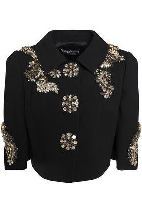 DOLCE & GABBANA Cropped crystal-embellished crepe jacket