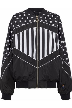 P.E NATION Wild Pitch reversible printed shell bomber jacket