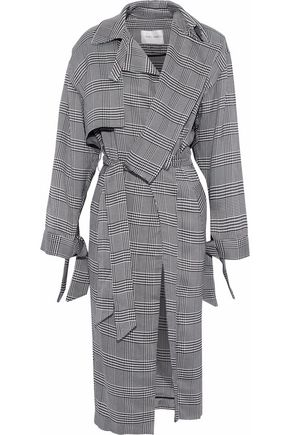 CARMEN MARCH Belted houndstooth woven trench coat