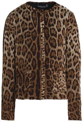 DOLCE & GABBANA Ruffle-trimmed leopard-print silk-crepe jacket