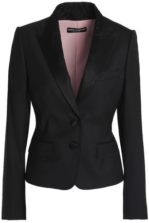 DOLCE & GABBANA Satin and lace-trimmed wool-blend jacket