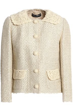DOLCE & GABBANA Crochet-trimmed jacquard jacket